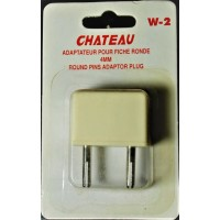 Europe prong socket adapter beige plug with retail packaging