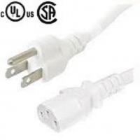 Standard computer/monitor/PC power cord/cable/wire 6' feet ft 3 pin/prong US Desktop/Printer/Server/UPS 5-15P to C13 universal beige 18 AWG F/M PSU