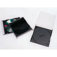 Slim jewel CD and DVD case box, 5,2 mm with black tray disc storage slimline spine covers