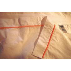 Drap plat King usagé, 60% coton, 40% polyester avec ligne jaune