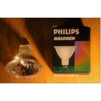50 watts halogen light bulb clear 36o, GU 5,3, 12 Volts, bi pins, open, 2 pins beam, 2 inches large