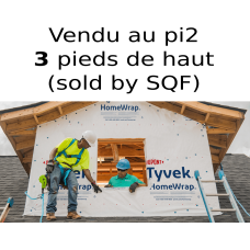 Tyvek Dupont HomeWrap membrane 3 feet X 1 feet air barrier - SOLD BY SQUARE FEET